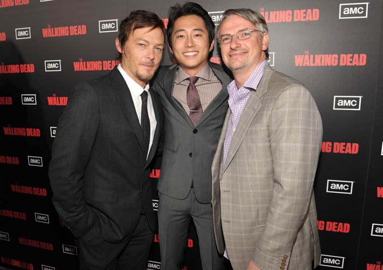 Norman Reedus (Daryl Dixon), Steven Yeun (Glenn) and Glen Mazzara (Yapımcı / Yazar)
